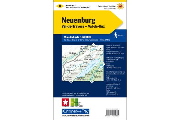 KÜMMERLY Wanderkarte 1:60´000 325902208 Neuenburg-Val de Travers/Ruz