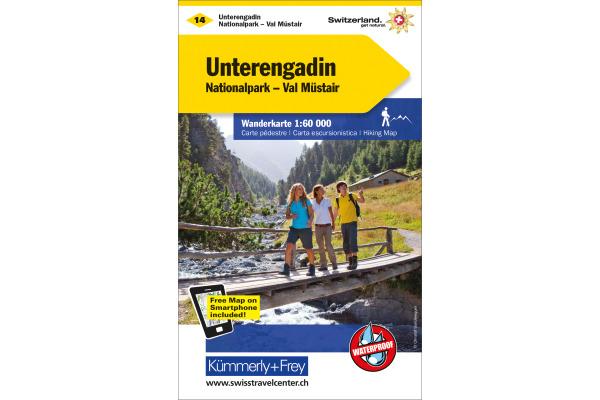 KÜMMERLY Wanderkarte 325902214 Unterengadin 1:60´000