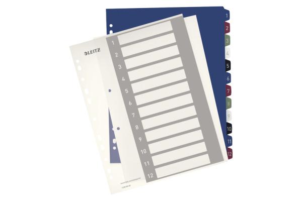 LEITZ Register PC-beschriftbar A4+ 12380000 Style, 1-12 multicolor