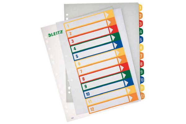 LEITZ Register PC-beschriftbar A4 12940000 1-12 transparent