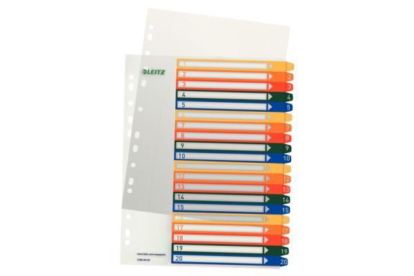 LEITZ Register PC-beschriftbar A4+ 12960000 1-20 multicolor