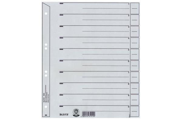 LEITZ Trennblätter A4, grau 1650-00-8 Karton 200g liniert,100 Stück
