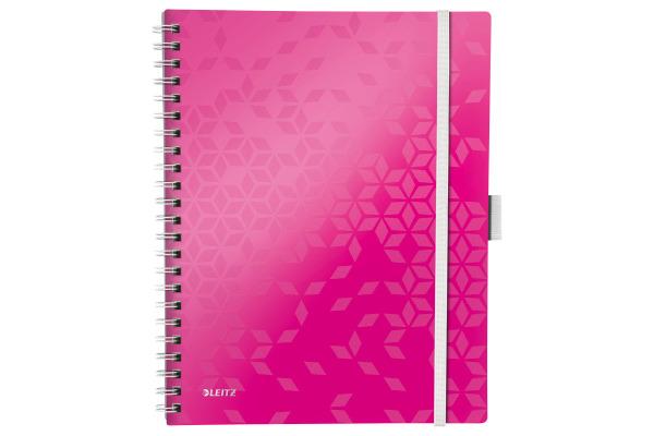 LEITZ Spiralbuch WOW PP A4 46450023 pink metallic 80 Blatt