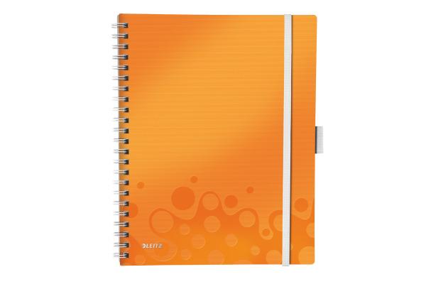 LEITZ Spiralbuch WOW PP A4 46450044 orange metallic 80 Blatt