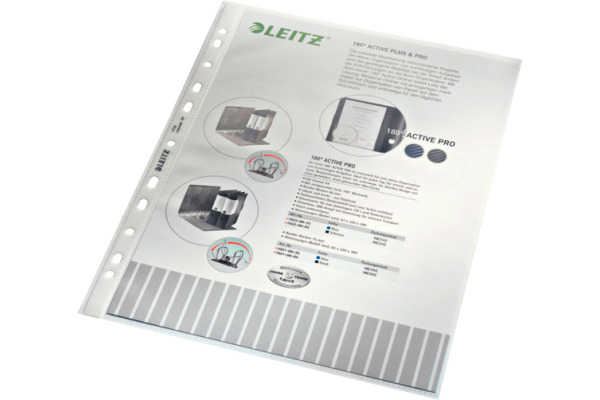 LEITZ Zeigetaschen PP A4 47040000 genarbt, 0,10mm 100 Stück