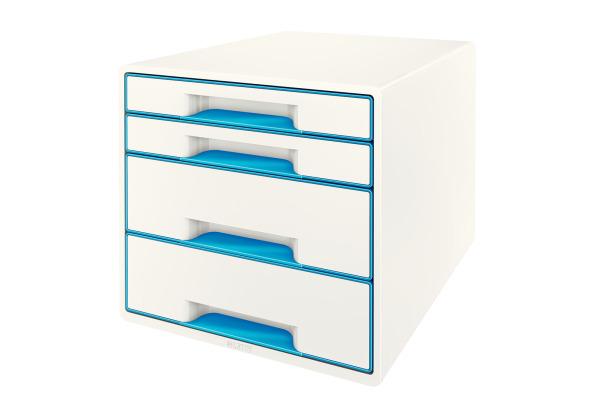 LEITZ Schubladenbox WOW Cube A4 52132036 weiss blau, 4...