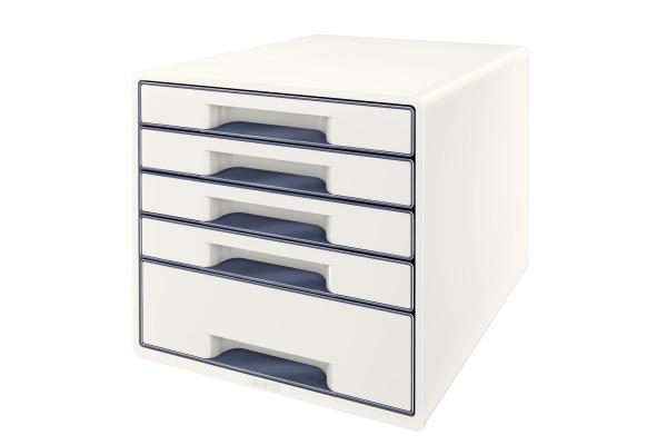 LEITZ Schubladenbox WOW Cube A4 52142001 weiss grau, 5...