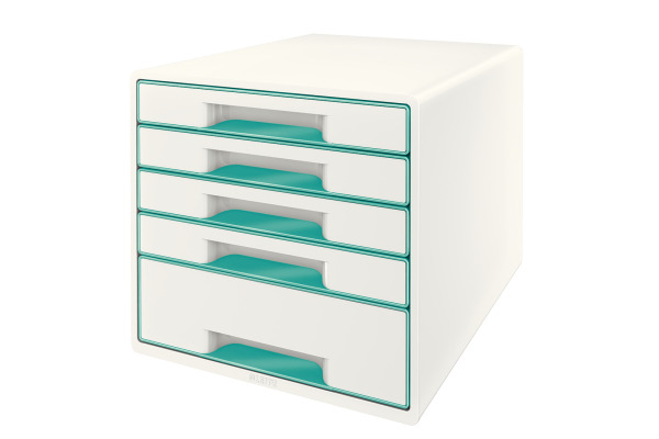 LEITZ Schubladenbox WOW Cube A4 52142051 weiss eisblau, 5...