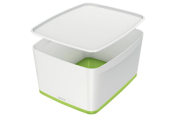 LEITZ MyBox Gross, mit Deckel 18lt 52161064 weiss/grün