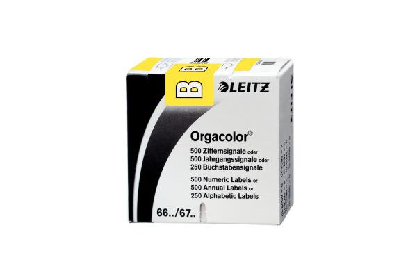 LEITZ Buchstabensignale B, gelb 6611-10-0 73x30x73mm, selbstkl.250 Stk.