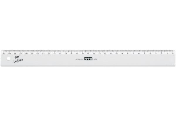 M+R Flachlineal 30cm 11300090 transparent, für Linkshänder