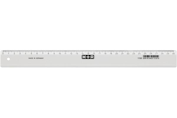 M+R Schullineal,schmal 30cm 711300000 klar, Skala Kunststoff