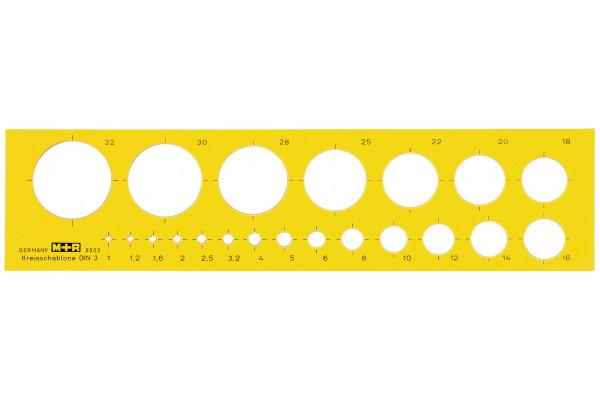M+R Kreisschablone 1-32mm 85030670 gelb-transparent