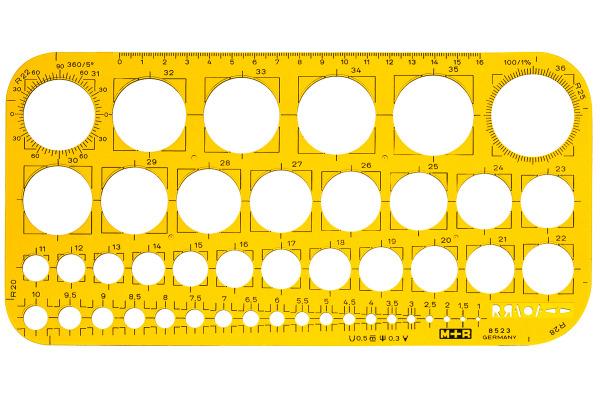M+R Lochkreisschablone 1-36mm 85230670 gelb-transparent