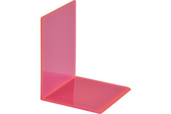 MAUL Buchstütze 10x10x13cm 3513621 transparent pink 2 Stück