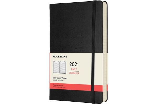 MOLESKINE Tageskalender L/A5 606297 1T/S 2021 1T/S, schwarz HC