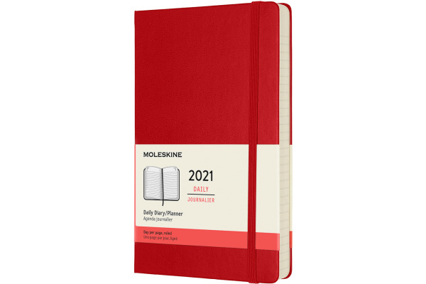 MOLESKINE Tageskalender L/A5 606310 2021 1T/S, scharlachrot HC