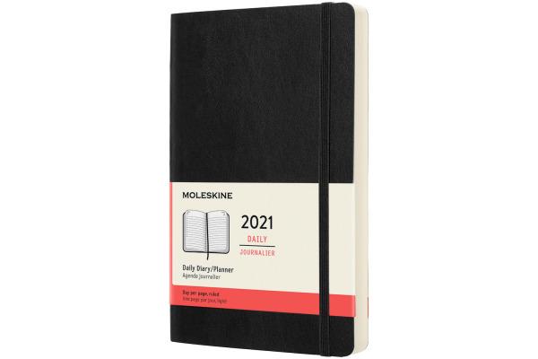 MOLESKINE Tageskalender L/A5 606358 2021 1T/S, schwarz SC
