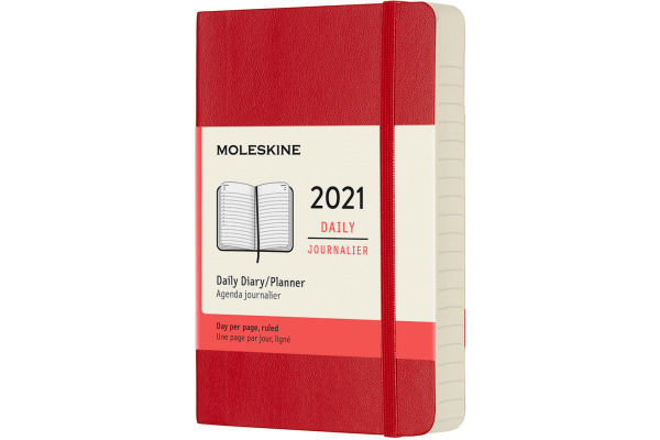 MOLESKINE Tageskalender P/A6 606365 2021 1T/S, scharlachrot SC