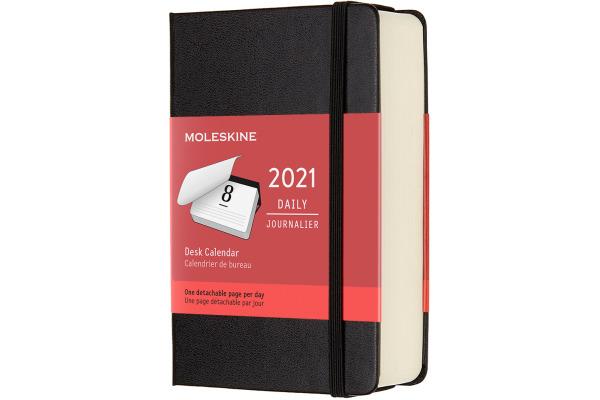 MOLESKINE Tisch-Tageskalender P/A6 606402 2021 1T/S, schwarz HC