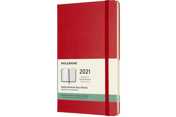 MOLESKINE Wochen-Notizkalender L/A5 606457 2021 1W/S,lin. scharlachr. HC