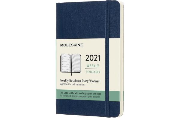 MOLESKINE Wochen-Notizkalender Pocket A6 606563 2021, liniert, SC, saphir