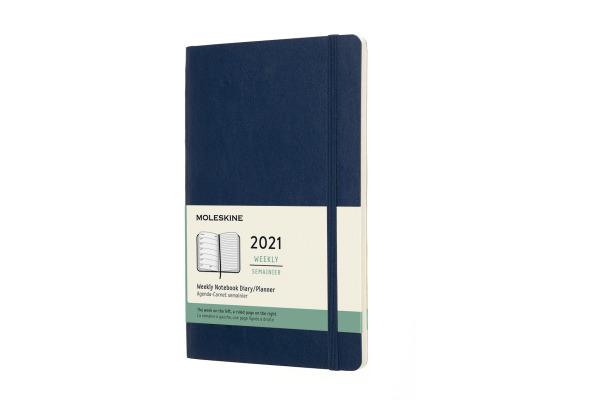 MOLESKINE Wochen-Notizkalender L A5 606570 2021, liniert, SC, saphir