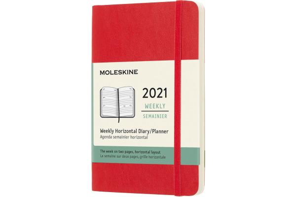 MOLESKINE Wochenkalender Pocket A6 606709 2021, SC, scharlachrot