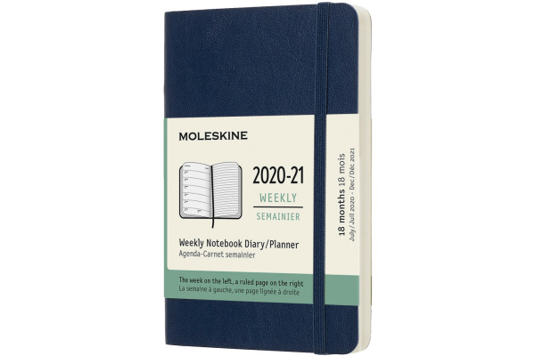 MOLESKINE Wochen-Notizkalender 20/21 A6 850048 18M liniert SC saphir