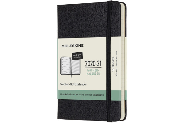 MOLESKINE Wochen-Notizkalender 20/21 A6 850222 18M liniert HC schwarz, de