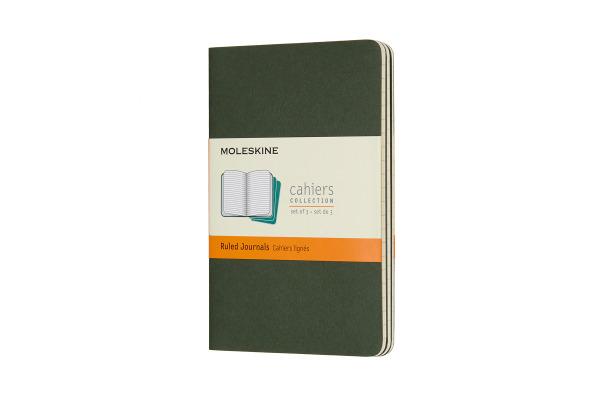MOLESKINE Cahier P/A6, 3x, Liniert 855211 Myrtengrün 3 Stück