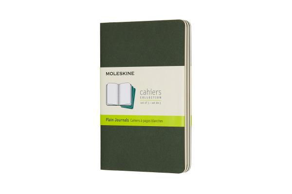 MOLESKINE Cahier P/A6, 3x, Blanko 855235 Myrtengrün 3 Stück