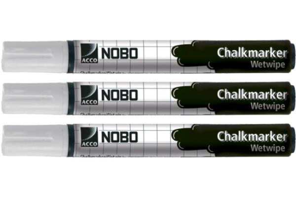 NOBO Kreidemarker 34438398 weiss 3er Set