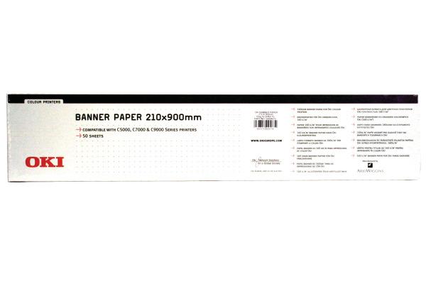 OKI Banner Papier 210x900mm 09004651 C5100 160g 50 Blatt