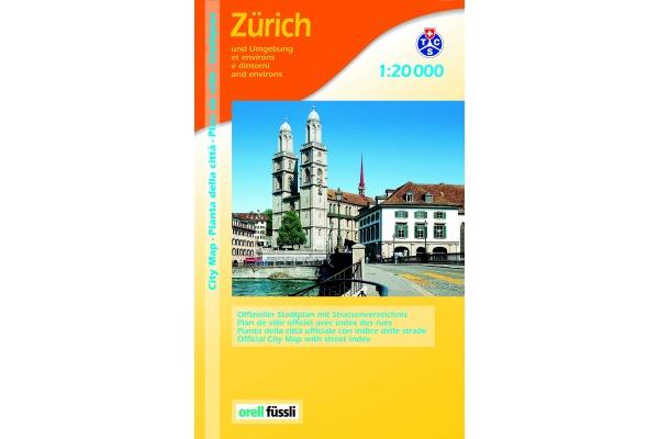 ORELL F. Stadtplan 905706529 Zürich Ganzplan 1:20 000