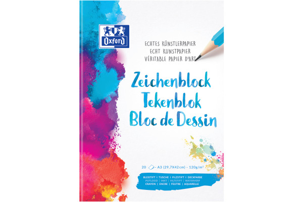 OXFORD Zeichenblock A3 100050301 blanko,90g 20 Blatt