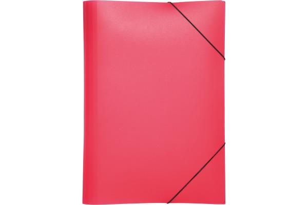 PAGNA Gummizugmappe A4 21613-03 rot PP 3 Einschlagklappen