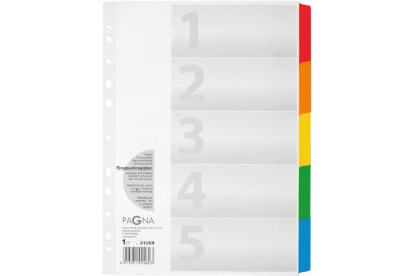 PAGNA Register Karton A4 31000-08 weiss 5-teilig
