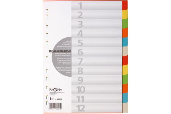 PAGNA Register Karton A4 32003-20 farbig 12-teilig