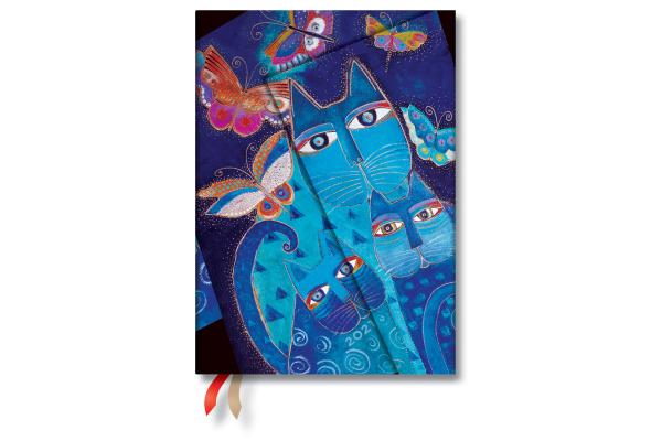PAPERBLAN Agenda 21 Katzen/Schmetterl. DD6722-1 7 T/S,Midi blau 130x180mm