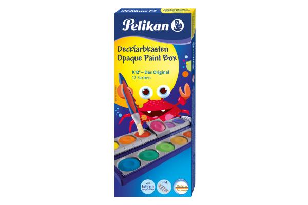 PELIKAN Deckfarben 735K/12 12 Farben Deckweiss