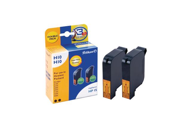 PELIKAN Tinten Duo 15 H10 schwarz C6615DE zu HP DeskJet 810 2 Stück
