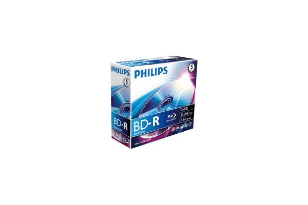 PHILIPS BD-R Jewel Case 25GB BR2S6J05C 6x Single Layer 5 pcs.