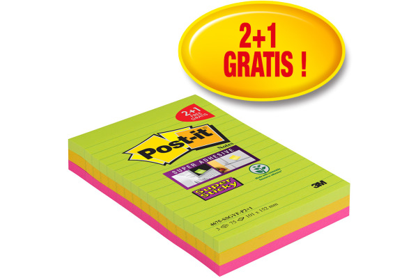 POST-IT SuperSticky Promo 101x152mm 4675SSGYF neongrün, fuchsia 2+1