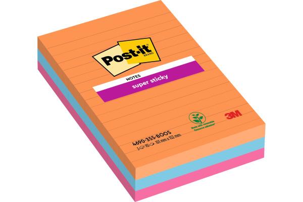 POST-IT Super Sticky Bangkok 152x101mm 4690SS3BG 3-farbig 3x90 Blatt