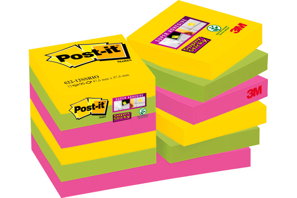 POST-IT Super Sticky Not. 47.6x47.6mm 622-12SS- Rio, 90 Blatt 12 Stück