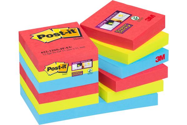 POST-IT Super Sticky Bora Bora 51x51mm 62212SSJP 3-farbig...