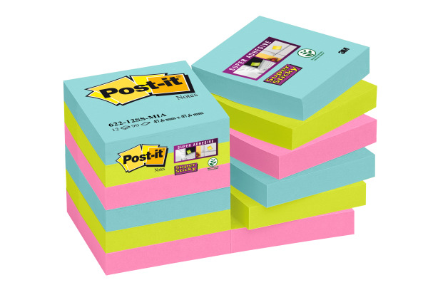 POST-IT Super Sticky Notes 47,6x47,6mm 62212SSMI Miami 4 Farben 12x90 Blatt