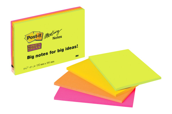 POST-IT Super Sticky Big Notes 4x45Bl. 6445-4SS 4 Farben...