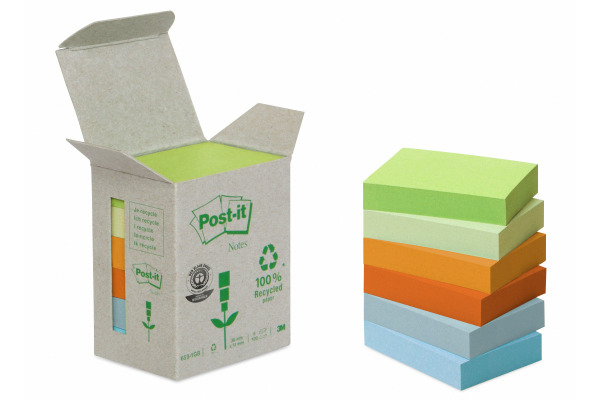 POST-IT Haftnotizen Recycling 38x51mm 653-1GB rainbow 6x100 Blatt